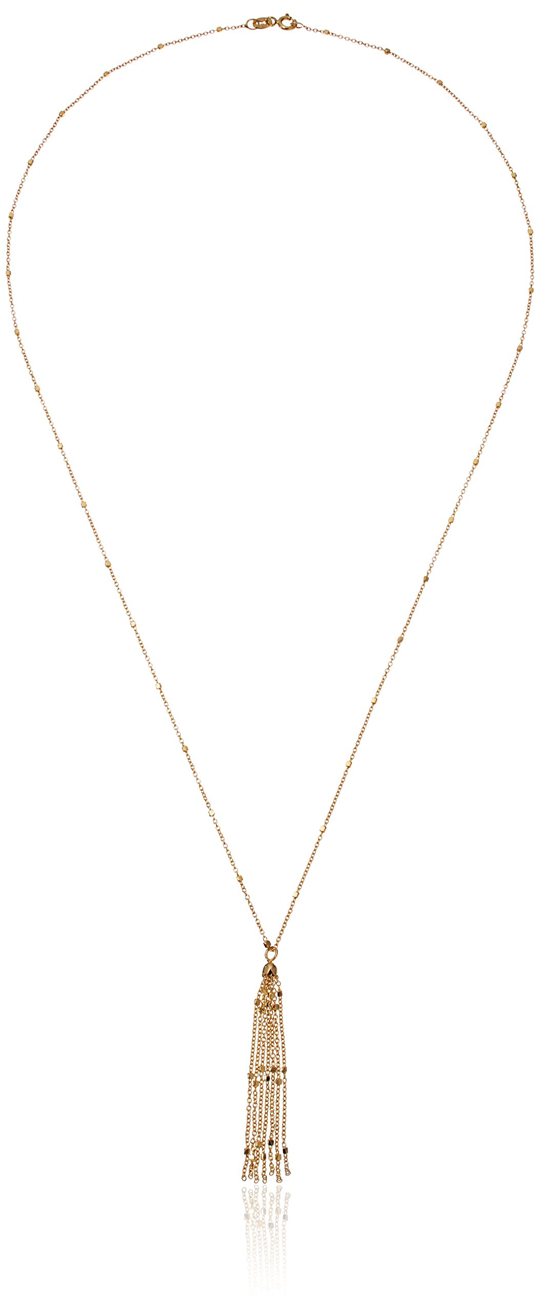 14k Yellow Gold Italian Station Accent with Tassel Dangle Y-Shaped Necklace, 22''