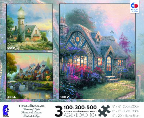 Thomas Kinkade 3-in-1 Multi Pack: Light in The Storm, Cobblestone Bridge, Candlelight Cottage Jigsaw Puzzle