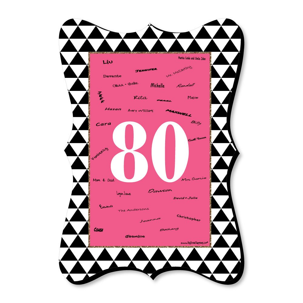 Big Dot of Happiness Chic 80th Birthday - Pink, Black and Gold - Unique Alternative Guest Book - Birthday Party Signature Mat by Big Dot of Happiness
