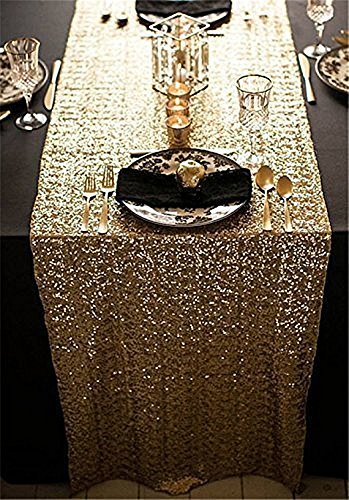 SoarDream Gold Sequin Table Cloth, Sequin Table Runner, Sequin Tablecloth. (Gold Runners For Tables)