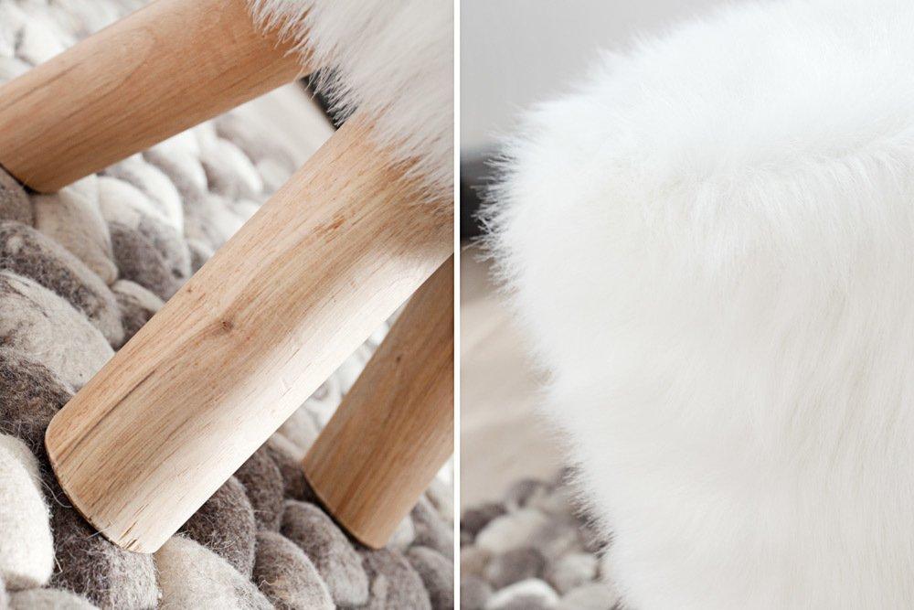 Invicta interior sgabello in pelliccia sintetica colore bianco