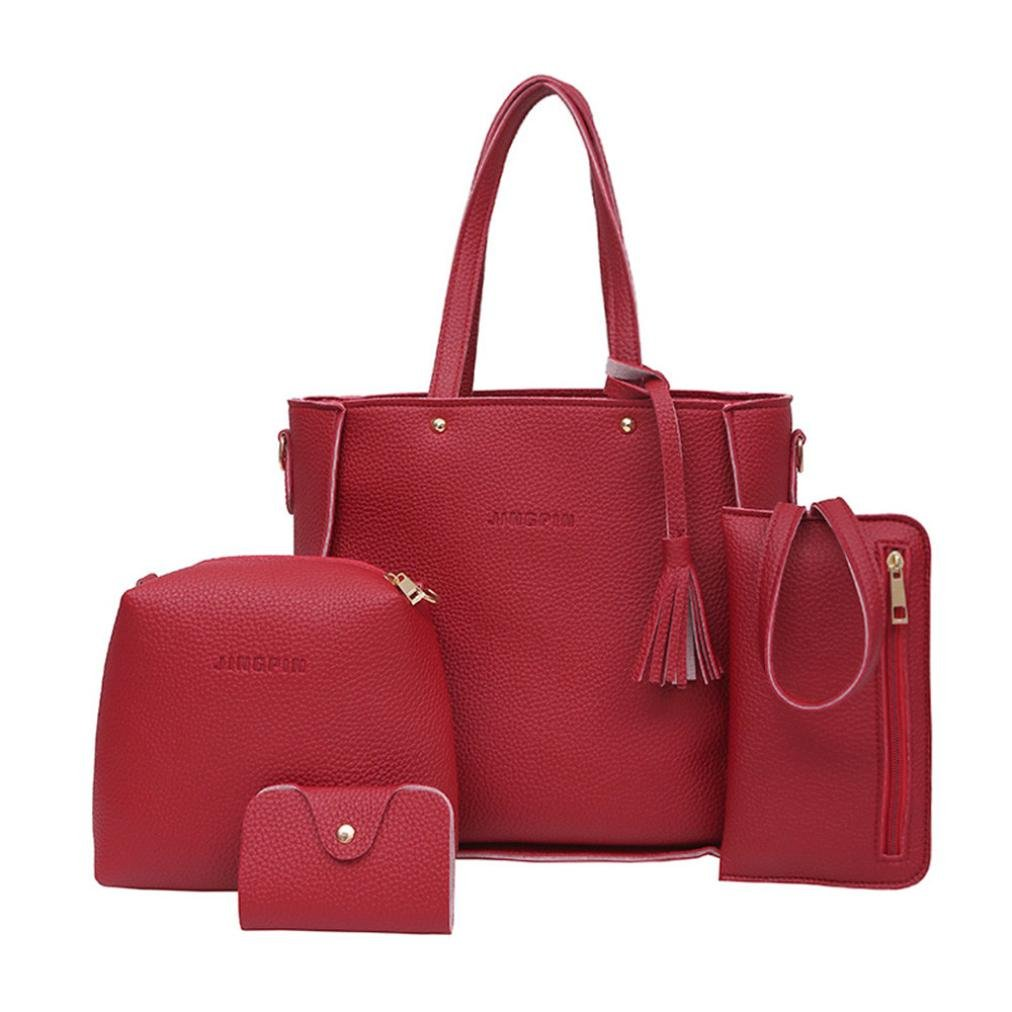 Todaies Hot Sale!Women Four Set Handbag Shoulder Bags 4 Pcs Tote Bag Crossbody Wallet (4Pcs, Red)