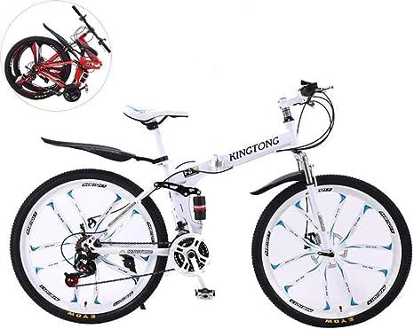 YUHT Bicicleta de montaña, Bicicleta Plegable 24 Pulgadas, Bicicleta Plegable de absorción de Doble Choque, Bicicleta de montaña de Velocidad Variable Unisex de Acero de Alto Carbono: Amazon.es: Deportes y aire libre