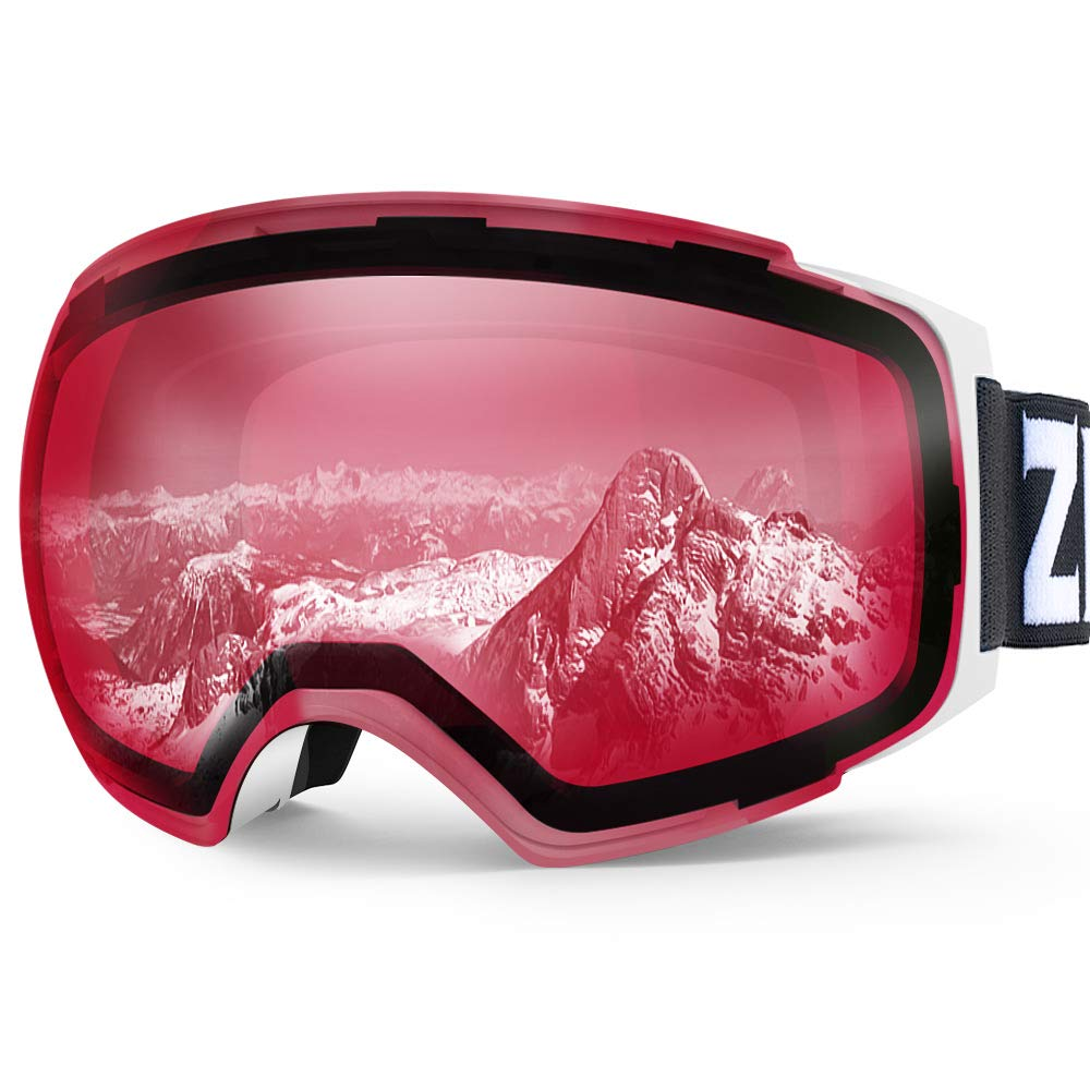 Zionor X4 Ski Snowboard Snow Goggles Magnet Dual Layers Lens Spherical Design Anti-Fog UV Protection Anti-Slip Strap for Men Women (VLT 49.02% Light White Frame Clear Close Lens) by Zionor