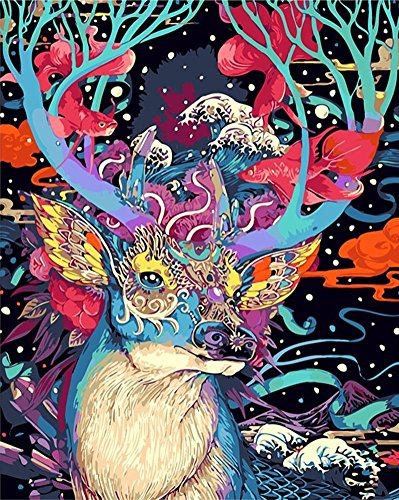 YEESAM ART Paint by Numbers for Adults Kids Beginner Acrylic Canvas Beach Deer Animals Cat Flowers (Deer, Without Frame)