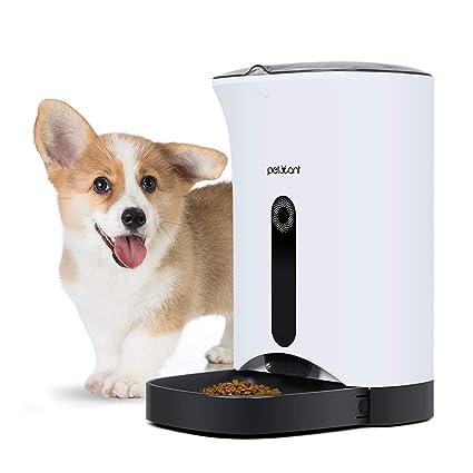 PETCUTE Alimentador automático de Perros Comedero Automático Perros dispensador de Comida para Mascotas grabadora de Voz