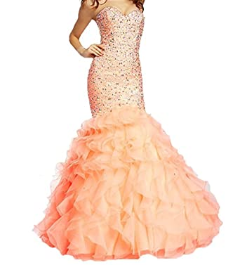 Girls Dress Evening Dress Luxury Beaded Mermaid Prom Gowns Lace Up Vestido de Festa Longo Strapless