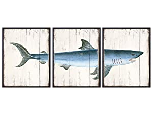 Shark Wood Sign Replica Set - Vintage Coastal Nautical Wall Art for Lake or Beach House, Bathroom, Living Room - Ocean Wall Decor - Rustic Shabby Chic Farmhouse Boho Poster Pictures - Sea Gift
