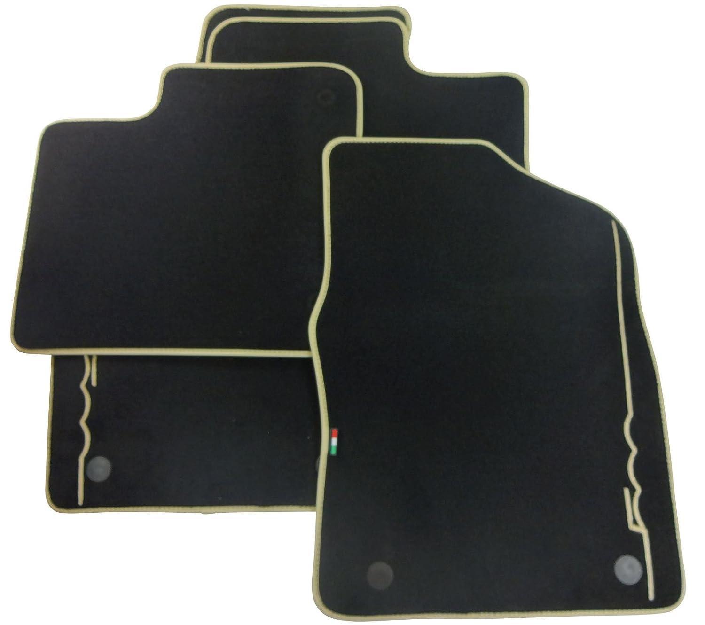 500 Car Floor Mats Ivory Logo Genuine Premium Carpet Full Set Twin Fixings Fiat