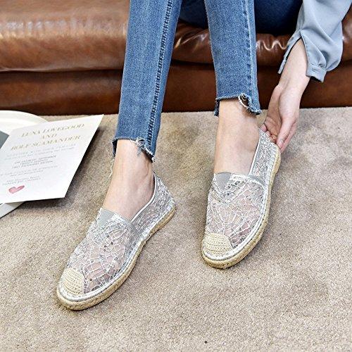 XIAOGEGE Cabeza redonda plana encaje calzado plano transpirable zapatos de mujer sandalias Silver