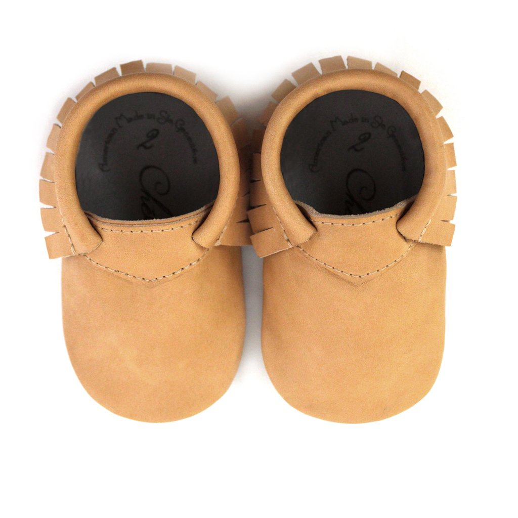 Solid Tan Leather Baby Moccasins /• Natural Beauty /• 100/% American Leather Baby Moccasins /• Made in US