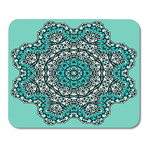 Boszina Mouse pad Peace Blue Filigree Ornamental Floral Round Lace Circle White Graphic Sign Office Supplies mouses pad 9.5x7.9 inches Mousepad