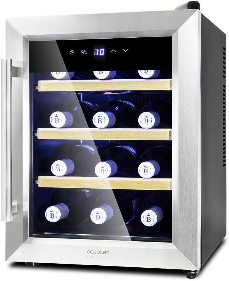 Cecotec Vinoteca Grand Sommelier 1200 CoolWood. Capacidad para 12 Botellas, Baldas de Madera y Tecnología Motionless, 33L de capacidad, Cristal Doble Aislamiento, Función Autodefrost.