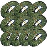 10 Stück 4 meter Spanngurte Zurrgurte oliv mit Klemmschloss Schnellspannung 180 dan