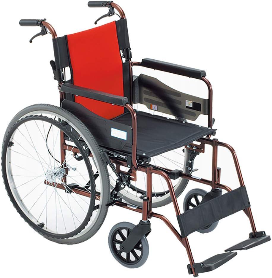 LXLCZ Silla de Ruedas autopropulsada Plegable Silla de Transporte de Viaje de aleación de Aluminio y Titanio Fácil de almacenar y Transportar Ancho del Asiento 45 cm