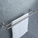 KES 24-Inch SUS 304 Stainless Steel Kitchen Towel Bar Storage Organizer Hanger Wall Mount, Brushed Finish, A2001S24-2