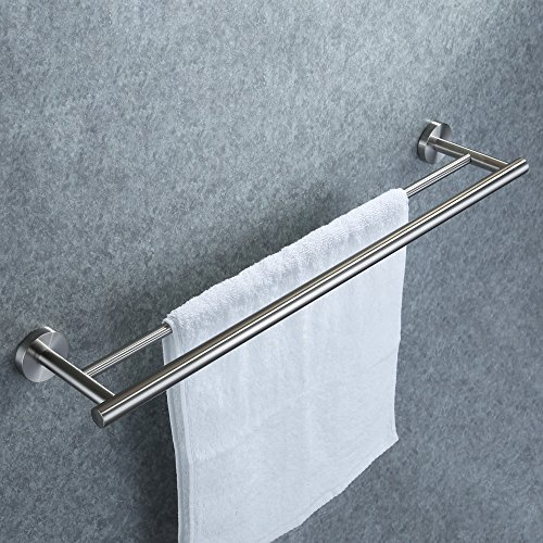 Brushed Chrome Towel Bar (KES 24-Inch Double Towel Bar Bathroom Shower Organization Bath Dual Towel Hanger Holder Brushed SUS 304 Stainless Steel Finish, A2001S24-2)