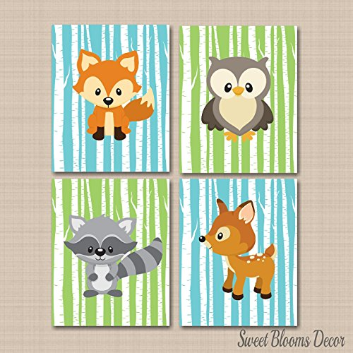 Woodland Décor,Woodland Nursery Art,Woodland Tales Wall Art,Forest Friends wall art,Forest Animals Wall Art,Fox Owl Deer Wall Art,Nursery Decor-UNFRAMED Set of 4 PRINTS (NOT CANVAS) C313