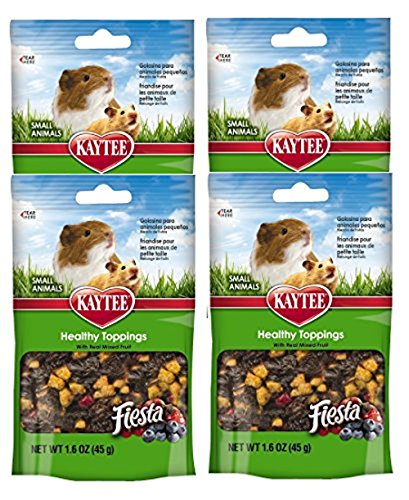 Kaytee Fiesta Healthy Toppings Mixed Fruit Treat for Small Animals (Rabbits, Guinea Pigs, Hamsters, Gerbils, Mice, and Rats) 4 Count -