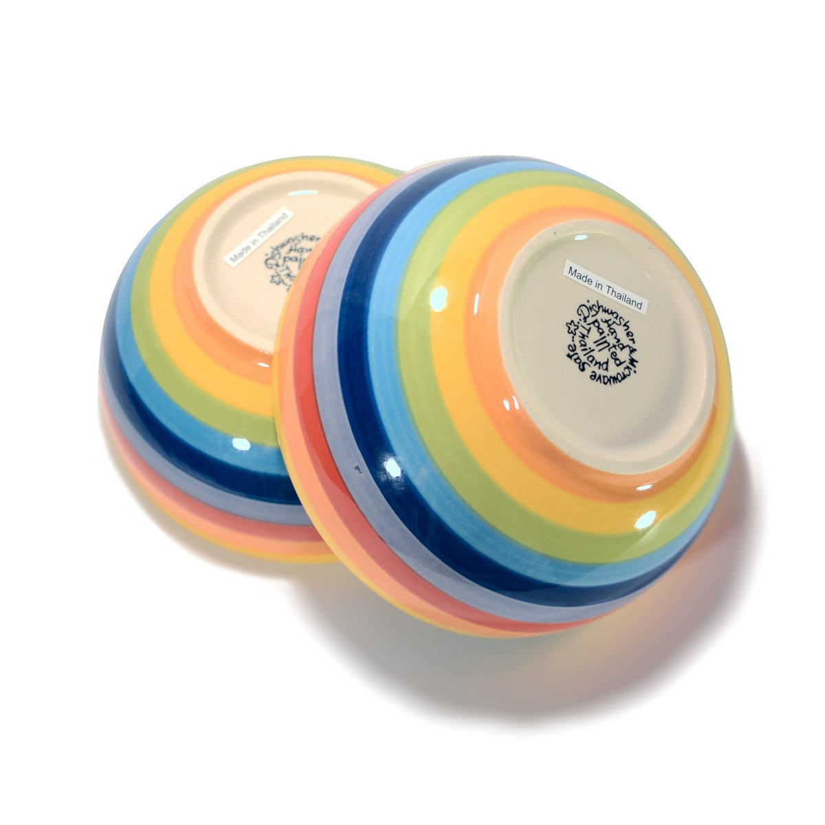 CinMin Colorful Striped Ceramic Stoneware Soup and Cereal Bowl 6 Inch Set of 2 CnCrBw06St