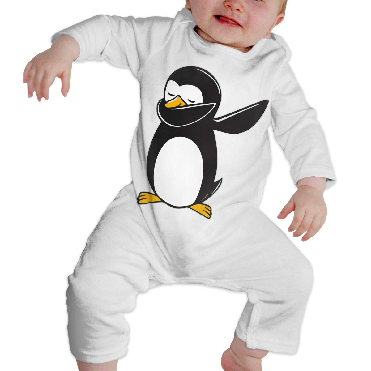 A1BY-5US Baby Infant Toddler Bodysuits Penguin Dab Cotton Long Sleeve Jumpsuit