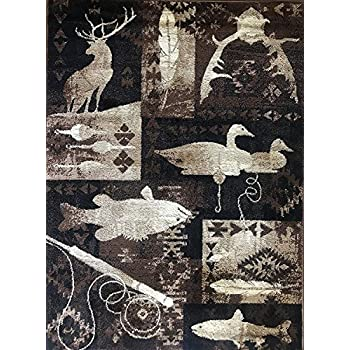 Amazon Com Carpet King Cabin Style Area Rug Big Bass Fish