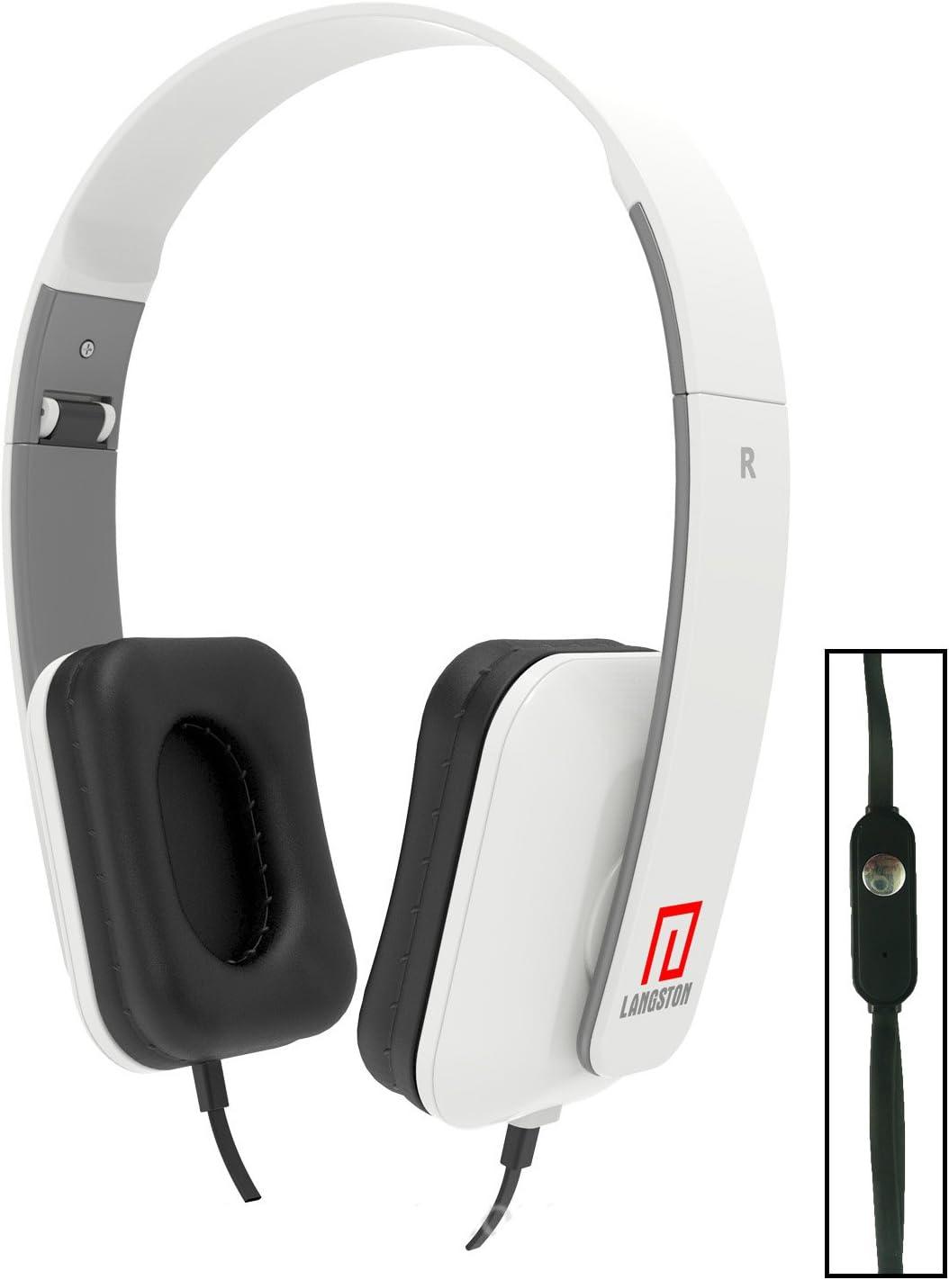 Langston ® Walton Primo NH Lite / Walton Primo GH6 White Deep Bass Foldable HD Headphones (iM-8) with Microphone and Remote White Langston DeepBass iM-8