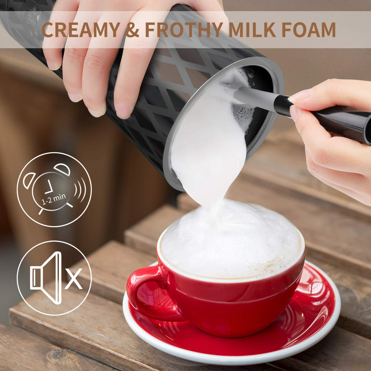 Electric Milk Frother Warmer - Compact Stainless Steel Steaming Set w/Automatic Power Off Safety Feature & LED Light Indicator for Easy Foamer and Hot Coffee Creamy Latte