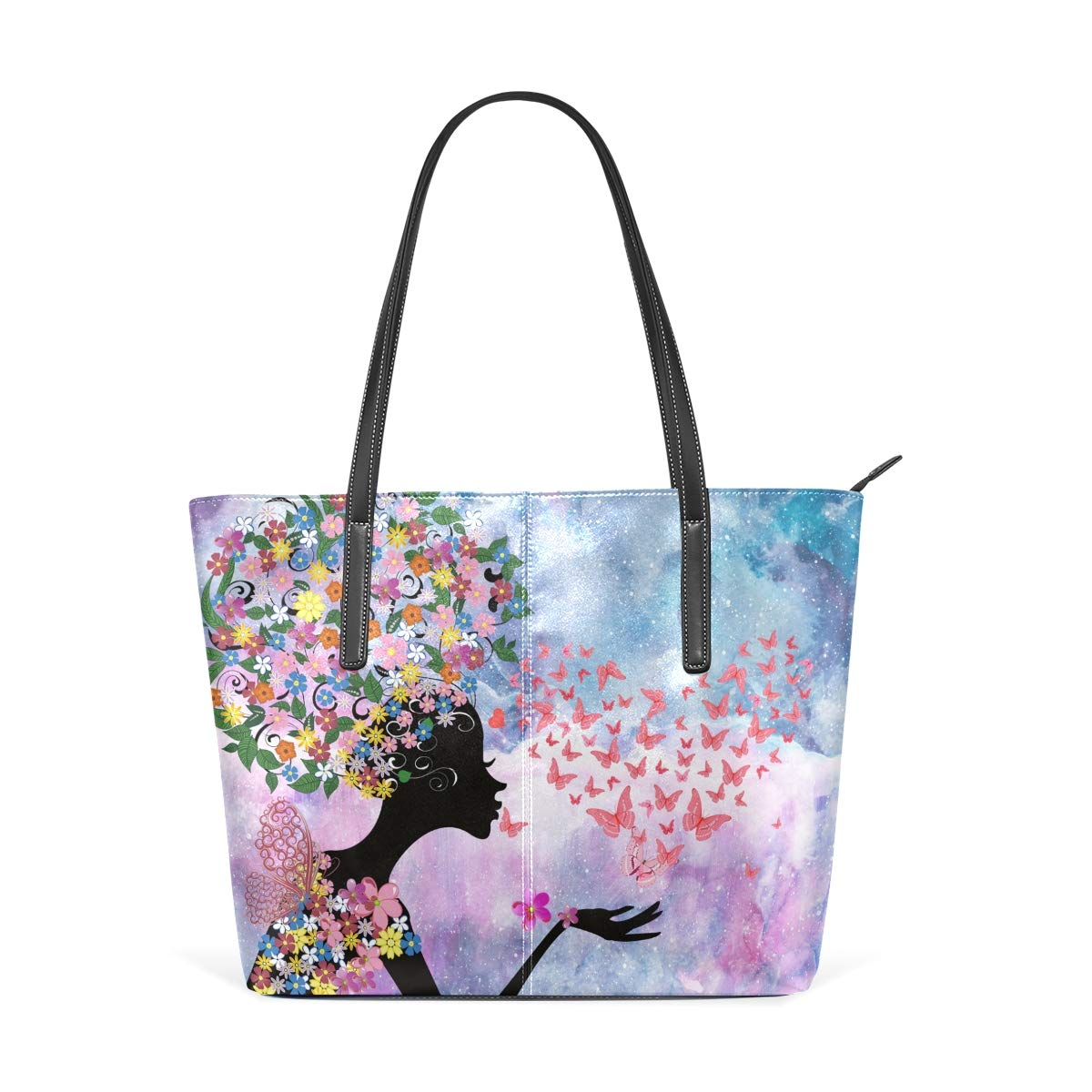 Romance Butterfly Girl Bicycle Womens PU Leather Tote Shoulder Bags Handbags Casual Bag