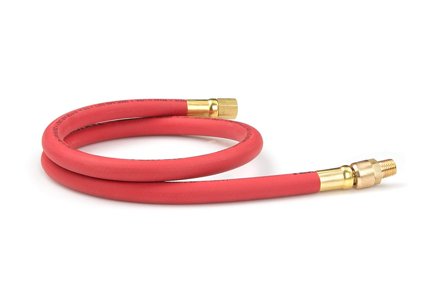 TEKTON 46347 3/8-Inch I.D. by 3-Foot 250 PSI Rubber Whip Air Hose with 1/4-Inch MPT Swivel End