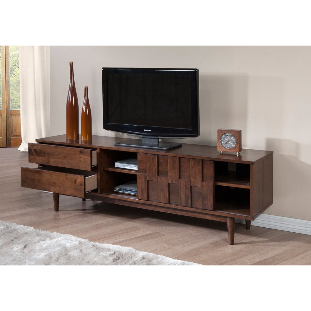 ModHaus Living Mid Century Danish Style Wood 70 inch Media Console TV Stand in Rich Finish with 2 Drawers – Includes Pen Brown