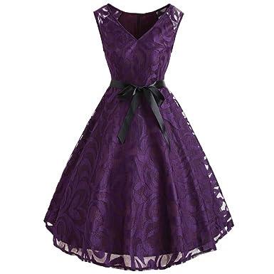 iShine Rockabilly Kleid Damen Off Schulter Kleid mit Spitzen Elegant ...