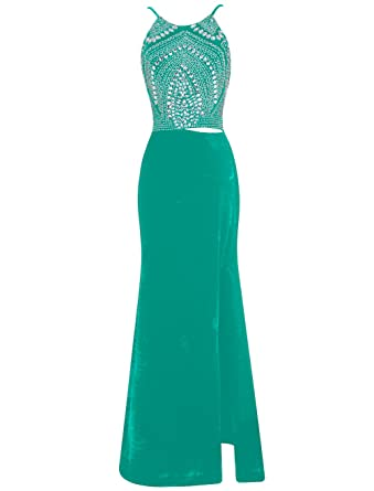 Dressystar Long Beaded Cut Out Prom Dresses Side Split Evening Gowns Backless Size 30W Green