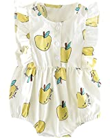 Jlong Newborn Baby Girls Cotton Apple Print Romper Sleeveless Jumpsuit Outfit
