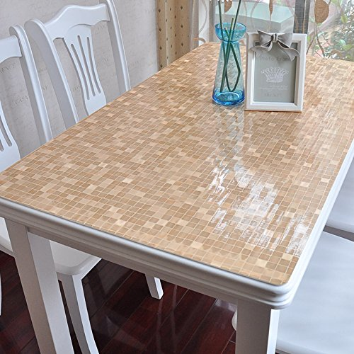 Rectangular Cocktail Series (XMMLL Pvc Waterproof Plastic Tablecloth Soft Glass Coffee Table Mats Pad,Tea Color Small Squares,6060Cm)