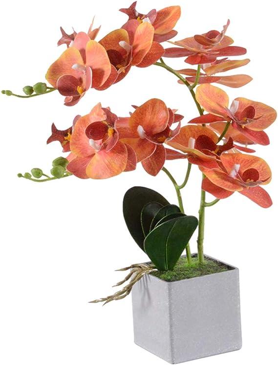 Blau VIVILINEN K/ünstliche Blume im Topf Orchideen Kunstpflanze Deko Kunstblumen Phalaenopsis f/ür B/üro Balkon Wohnzimmer
