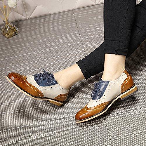 Scarpe Da Donna Stringate In Pelle Traforata Mona Volanti Per Donna Scarpe Stringate In Pelle Multicolor Wingtip Marrone-bianco-blu