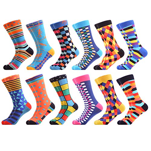 WeciBor Men's Novelty Colorful Casual Casual Dress Combed Cotton Socks 12 (Mens Multi Colored Dress)