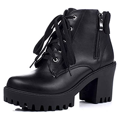 98a1bb3dd1ba IDIFU Women's Comfy High Heels Chunky Platform Lug Sole Lace Up Side Zipper Ankle  Booties Black