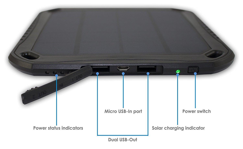 Amazon.com: nucharger S5600 Cargador Solar 5600 mAh 2USB 2 A ...