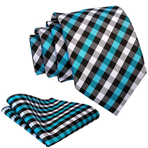 (Gingham Plaid Ties for Men - Woven Necktie & Pocket Square - Turquoise and Black)