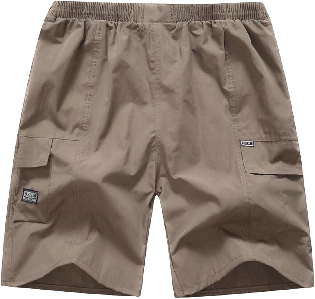 JuJuTa Men Multi-Pocket Summer Big and Tall Cotton Comfy Elastic Wasit Shorts