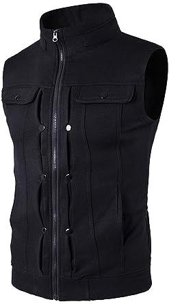 Amazon.com: Whatlees Mens Solid Sleeveless Zip Up Vest: Clothing