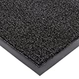 """Notrax Non-Absorbent Fiber 231 Prelude Entrance Mat, for Outdoor and Heavy Traffic Areas, 4' Width x 6' Length x 1/4"""" Thickness, Black"""