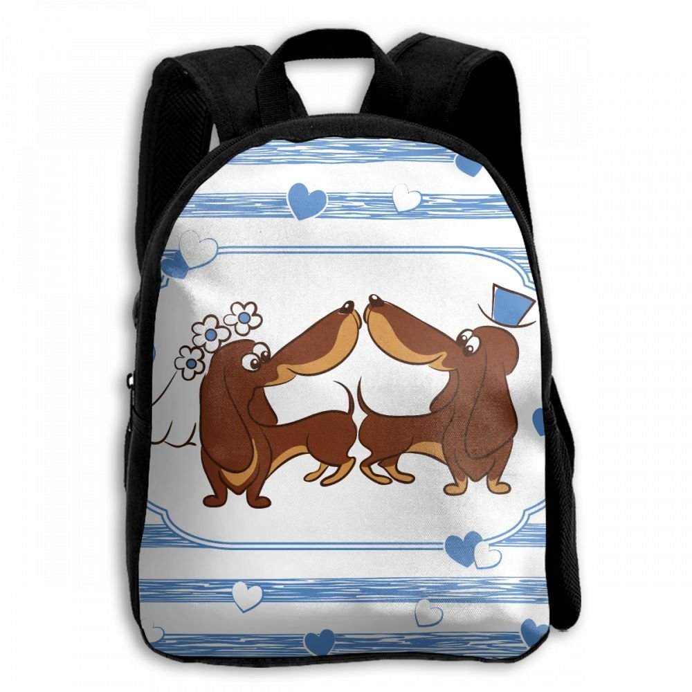 Dachshund Dog Wedding Funny Student School Backpacks Canvas Book Bag Casual Daypack Travel For Children