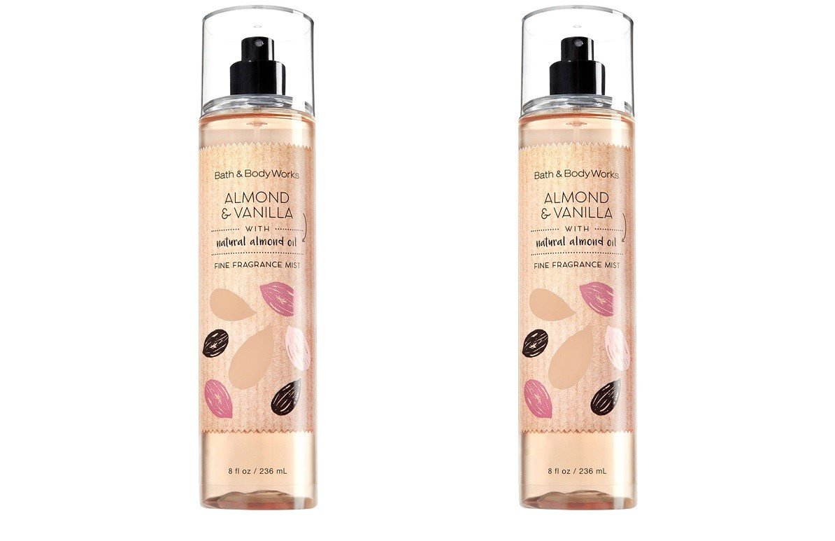 Set of 2 Bath and Body Works Almond Vanilla Fragrance Mists 8 Ounce Full Size