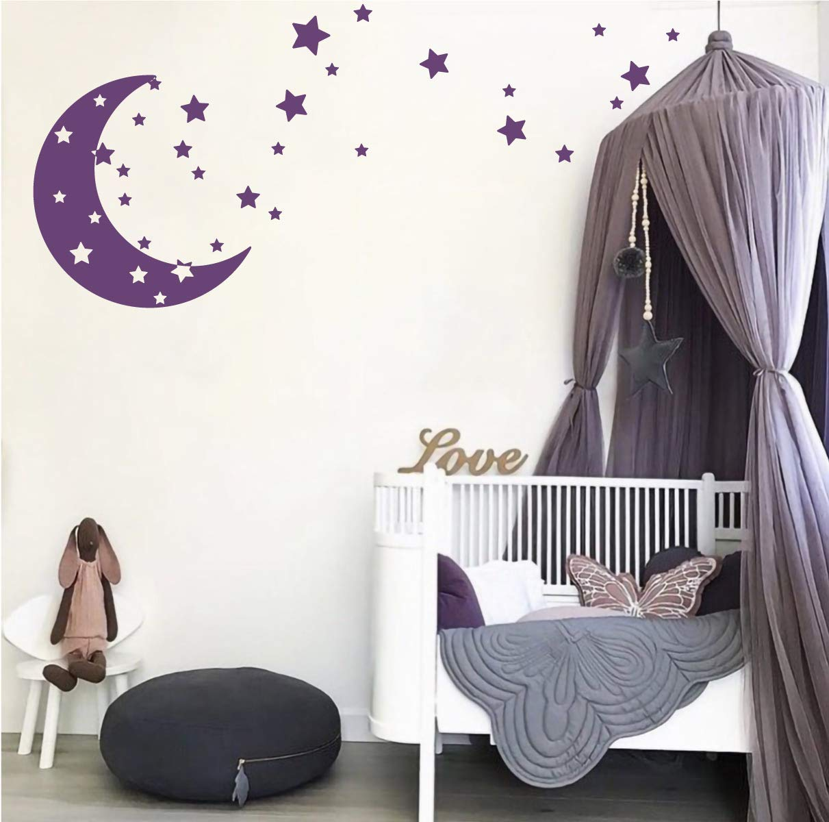 Moon and Stars Night Sky Vinyl Wall Art Decal Sticker Design for Nursery Room DIY Mural Decoration (Burgundy, 22x49 inches) The Decal Guru 2022-WALL-01-01