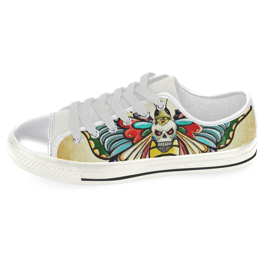 InterestPrint Skull Classic Canvas Shoes for Women