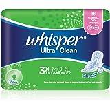 Whisper Ultra Clean Regular Flow Light/Normal Day Wings Sanitary Pads, 24cm, 18ct