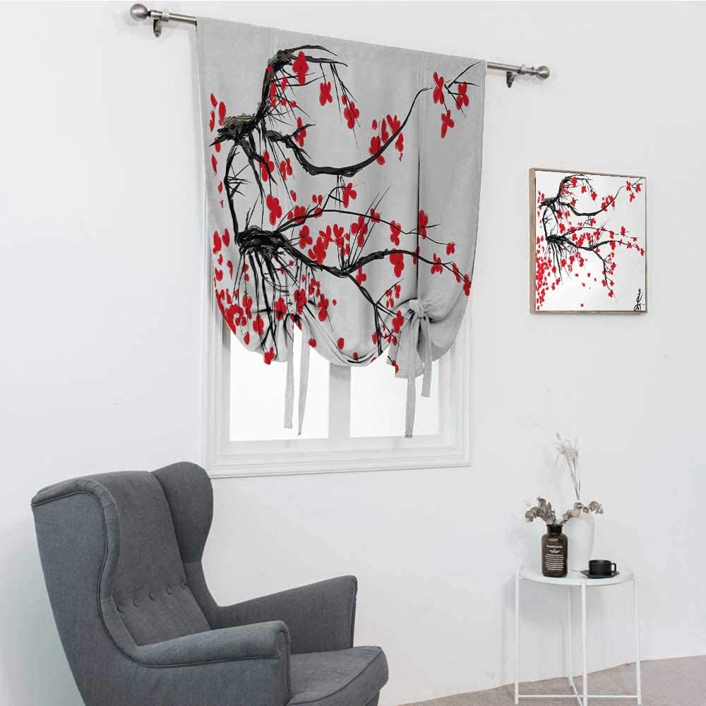 "GugeABC Nature Blackout Curtains for Bedroom, Sakura Blossom Japanese Cherry Tree Garden Summertime Vintage Cultural Artwork Print Tie Up Curtains for Window, Red Black, 39"" x 64"""